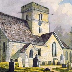 Watercolour of the church painted in the 19th century by John Homes Smith