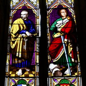 West Window stained glass representing Saints Peter and Paul